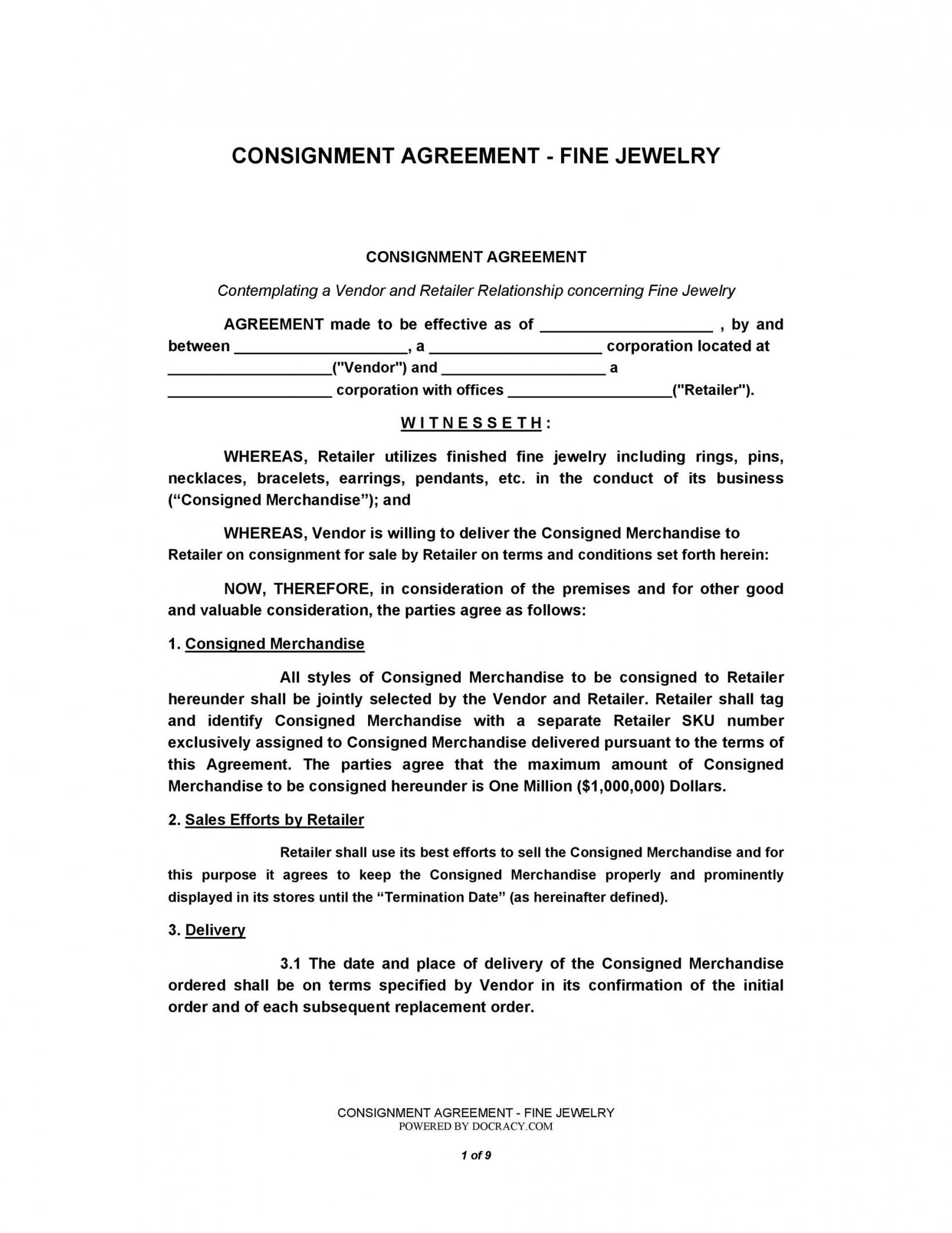 Printable Consignment Shop Contract Template  Sample