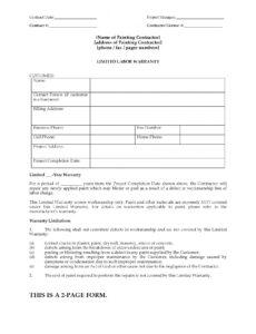 Printable Residential Painting Contract Template Word Example