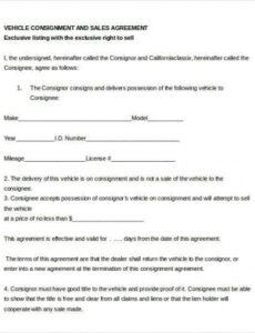 Professional Consignment Shop Contract Template Pdf Example