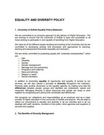 Professional Diversity Policy Statement Template Word