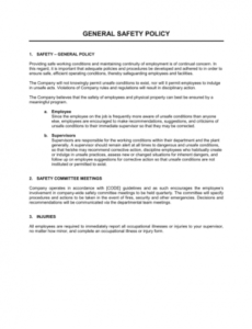 Best Office Health And Safety Policy Template Pdf Sample