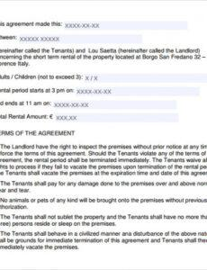 Best Short Term Lease Agreement Template Excel