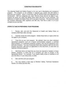 Construction Company Safety Policy Template Doc Example