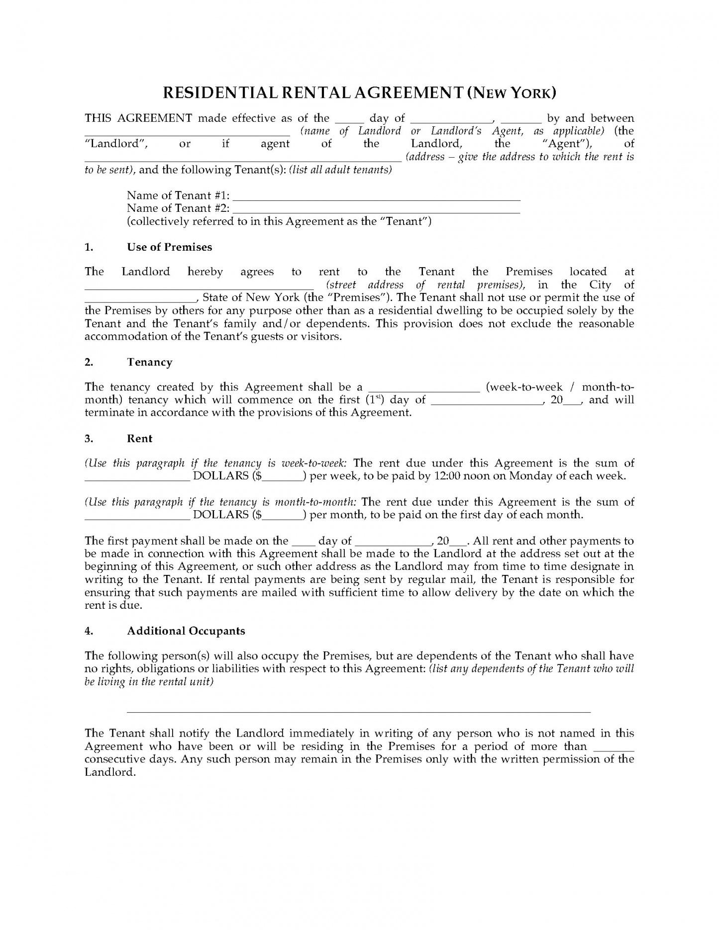 Editable New York Residential Lease Agreement Template Word Example