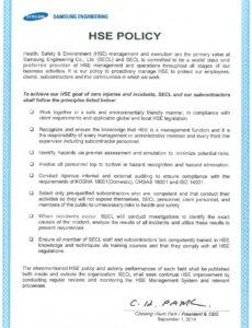 Editable Office Health And Safety Policy Template Pdf