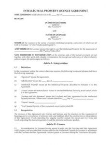 Intellectual Property Licensing Agreement Template Word Example