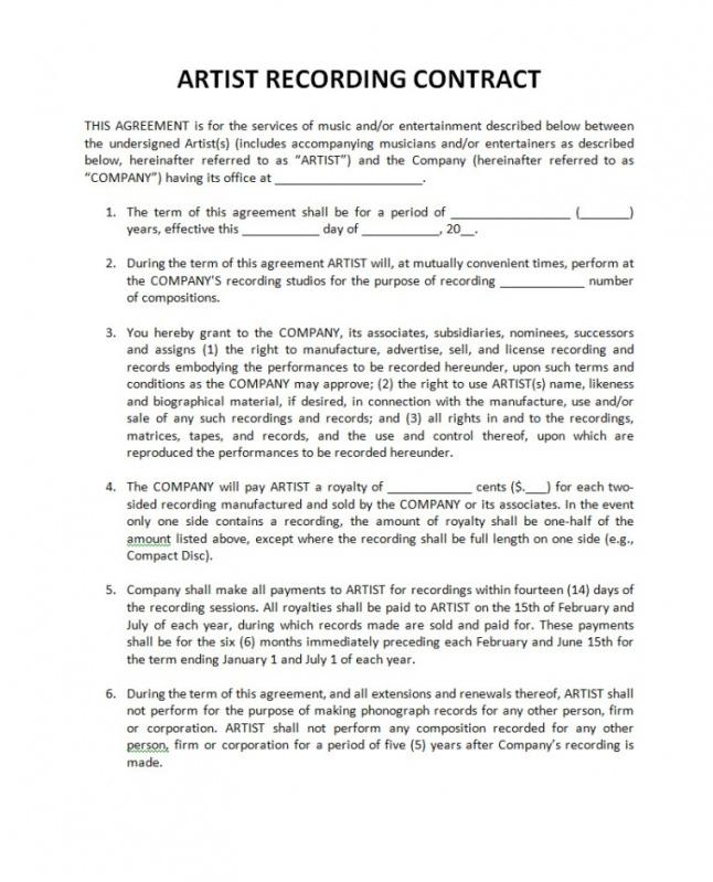 Music Work For Hire Agreement Template Word