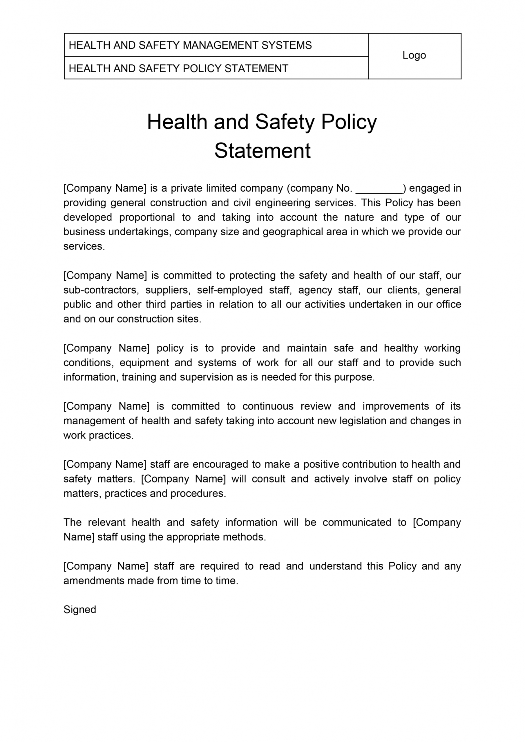 Printable Company Fire Safety Policy Template Doc Example