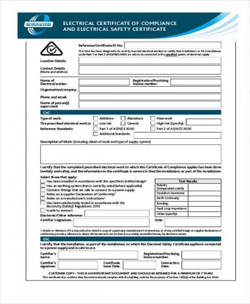 Printable Electrical Safety Policy Template Word Example