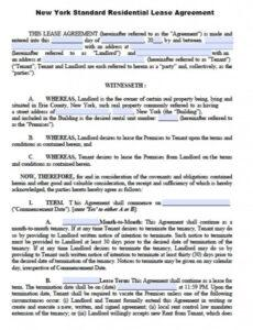 Printable New York Residential Lease Agreement Template Word Example