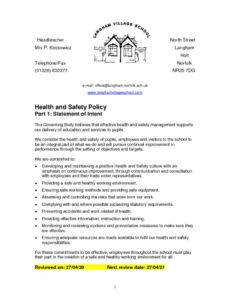 Printable School Health And Safety Policy Template Word Example
