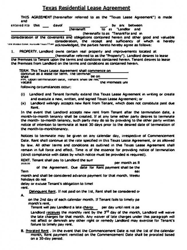Printable Texas Lease Agreement Template Excel