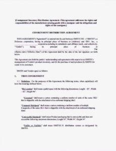 consignment inventory agreement template  sample templates consignment store contract template sample