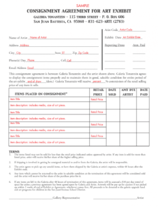 editable consignment agreement template  free printable documents consignment store agreement template doc
