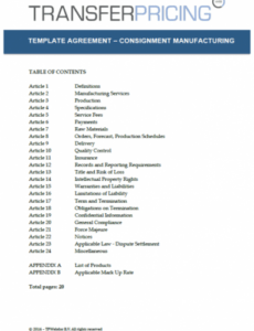 editable consignment manufacturing agreement template  transfer toll manufacturing agreement template example