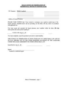 editable fillable 30day notice of termination of residential month 30 day notice lease termination letter template doc