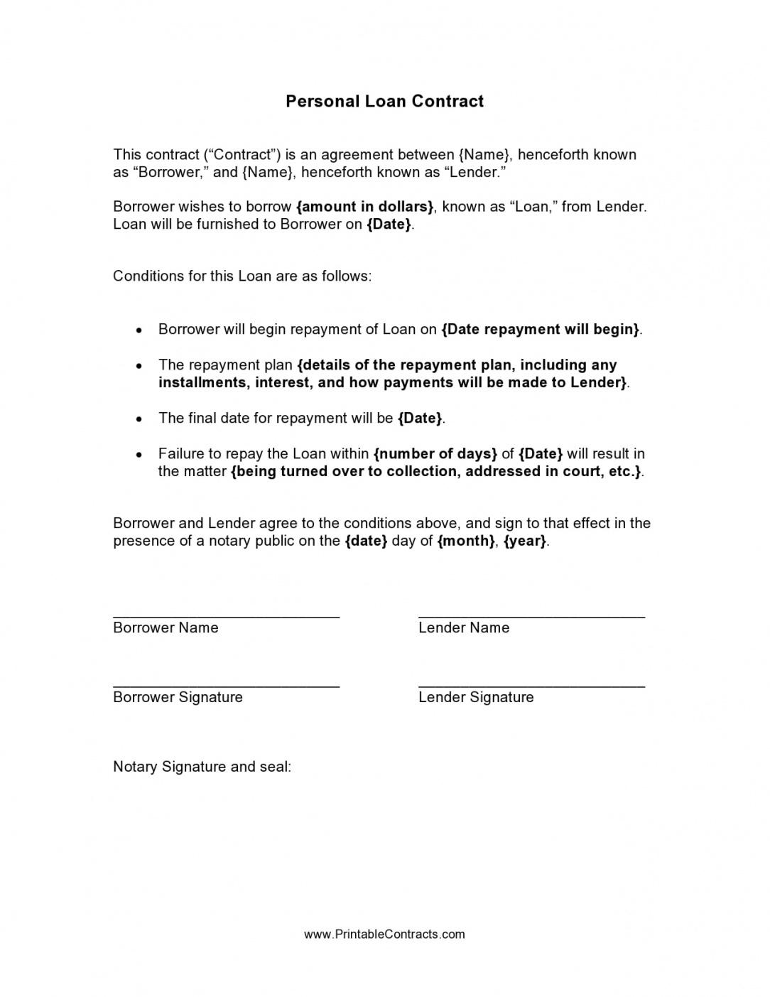 editable personal loan agreement letter  free 6 sample personal personal money loan contract template doc