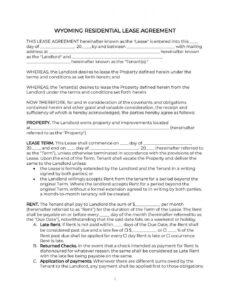 editable wyoming residential lease agreement 2020 pdf & word georgia real estate contract template doc