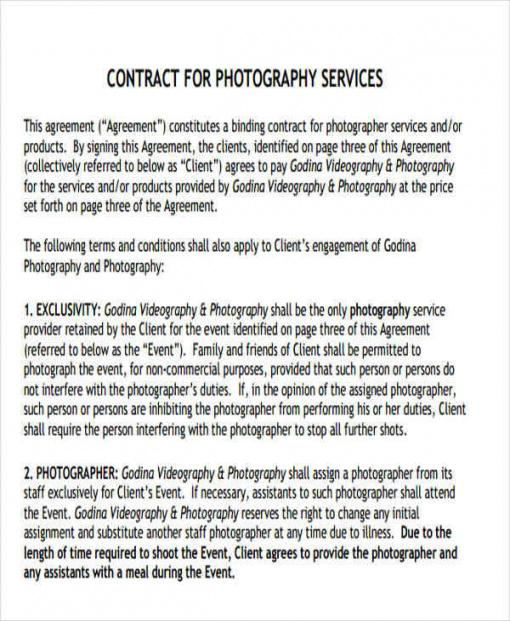 free 10 photography contract templates in ms word photography services contract template pdf