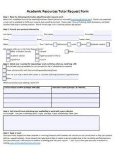 free 14 tutor request form samples in pdf  ms word tutor agreement template excel