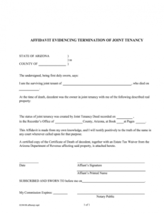 free arizona affidavit joint tenancy  fill out and sign joint tenancy agreement template pdf