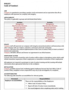 free code of conduct policy template  instant download ethics policy template pdf