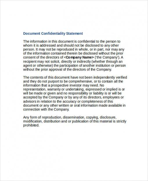 free free 10 sample confidentiality statement templates in pdf professional disclosure statement template pdf