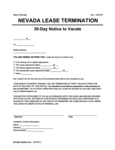 free nevada eviction notice forms notice to quit 30 day notice lease termination letter template doc