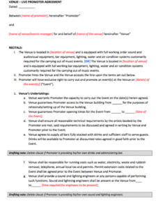 free promoter  venue contract template booking agent contract template sample
