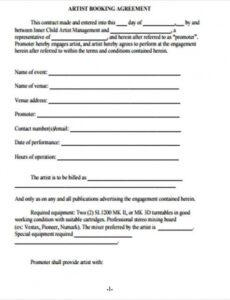 printable free 10 artist agreement contract samples in ms word artist manager contract template sample