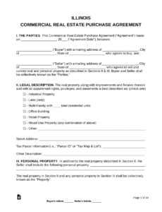 printable free illinois commercial real estate purchase and sale property purchase contract template word