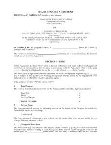 printable northern ireland secure tenancy agreement  legal forms joint tenancy agreement template pdf