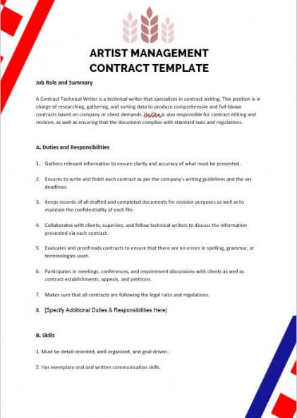 sample 10 artist management contract template  room surf artist manager contract template word