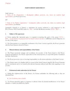 sample 40 free partnership agreement templates business general partners contract template excel