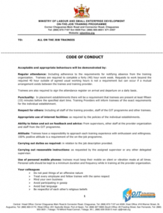 sample code of conduct policy template ethics policy template sample