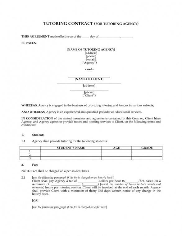 sample editable tutoring contract between agency and client tutor agreement template excel