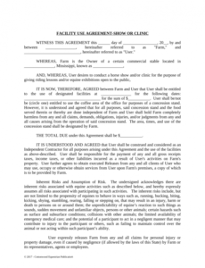 sample facility release agreement  show or clinic  horse equine facility use agreement template word