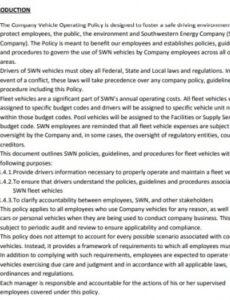 sample free company vehicle policy template word pdf  excel tmp company vehicle policy template doc