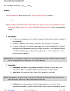 24 excellent picture of music rights agreement musicians contract template