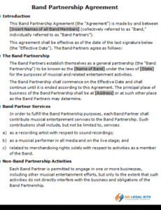 band partnership agreement contract template available concert contract template excel