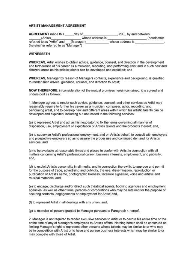 editable artist management contract 2020 pdf  fill online musicians contract template excel