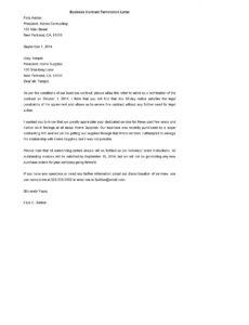 editable business contract termination letter template  pdf format termination of contract agreement template example