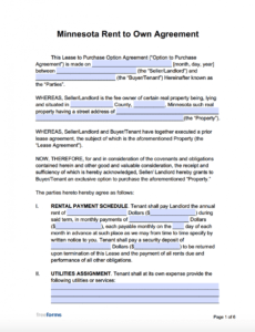 editable free minnesota rent to own agreement form  pdf  word lease with option to buy contract template excel