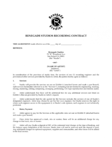 editable music recording contract  free printable documents musicians contract template example