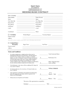 editable musician contract  free printable documents musicians contract template word
