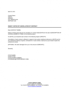 editable notice of cancellation of contract template  word & pdf cancellation of service contract letter template word