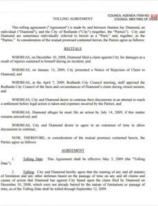 free 5 sample tolling agreement templates in pdf  ms word vesting agreement template doc