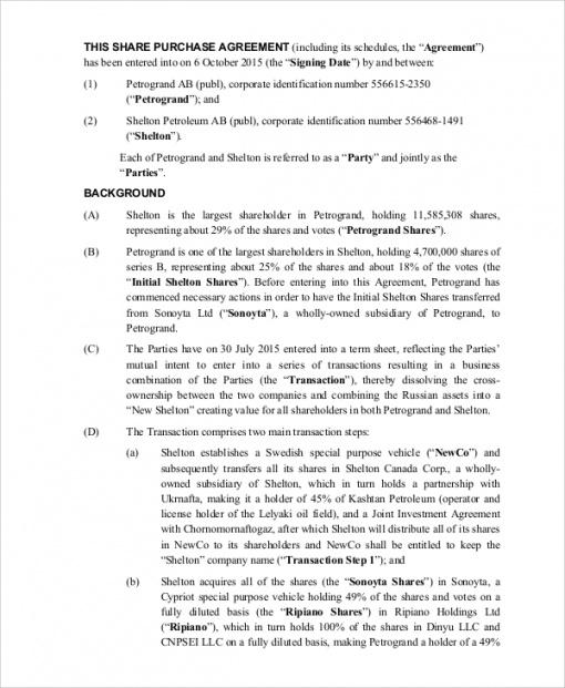 free 7 sample purchase agreement templates in pdf  ms word stock option agreement startup template excel