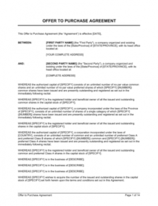 free agreement of purchase and sale of shares template  word stock option agreement startup template sample