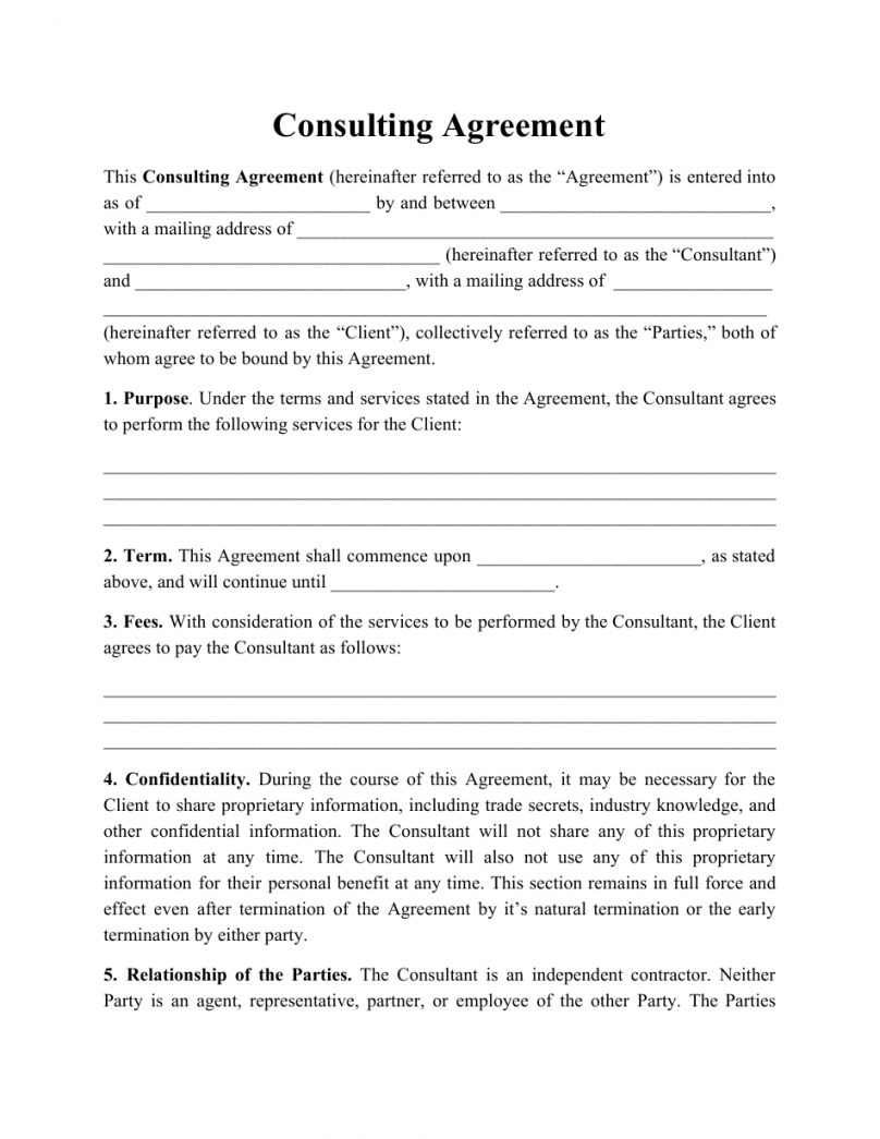 free consulting agreement template download printable pdf hourly consultant contract template